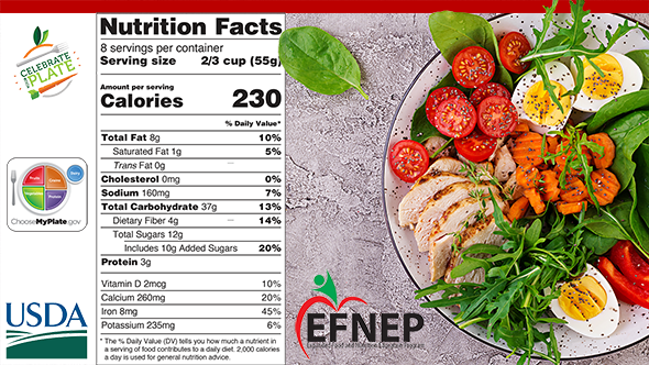 Nutrition label and salad