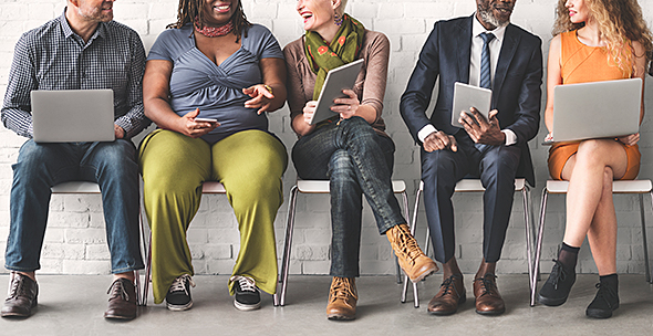 Diverse People with Tech Devices