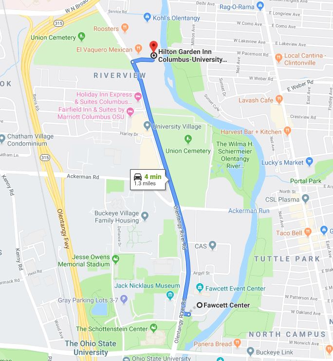 map from hotel to Fawcett Center