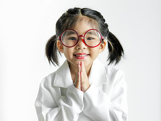 Young Asian girl with big glasses