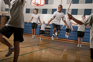 Youth jumping rope