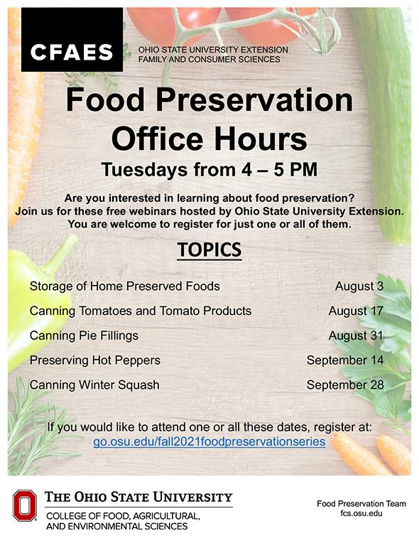 Food Preservation Fall 2021 flier registration