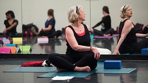 Senior lady performing yoga