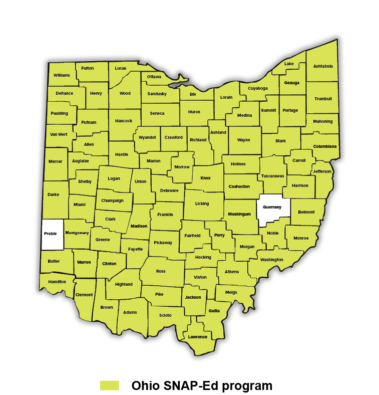 Ohio SNAP-Ed county map